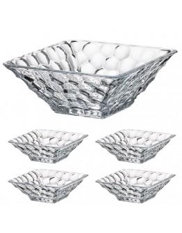 Комплект купи Bohemia Marble Bowl Set 1+4, 1х26 см, 4х17.5 см, Кристалит