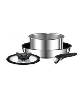Комплект съдове с махаща се дръжка и капак Tefal Ingenio Preference L9409032, 20 см, 28 см, Индукция, Неръждаема стомана