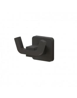 Закачалка за кърпа TEKNO TEL TR MG 336, 2 куки, 8х6х5 см, Закрепване с дюбел, Матово черно