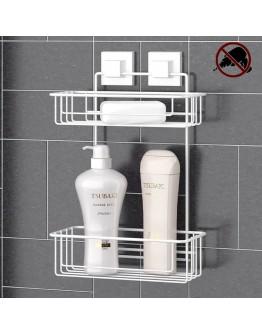 Етажерка за баня на 2 нива TEKNO TEL TR EF 256W, 25х15х39 см, Двойно залепване, Бял