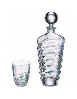 Комплект гарафа за уиски + чаши Bohemia Wave Whiskey Set 1+6, 750 мл, 6 чаши х 280 мл, Кристалит