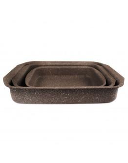 Комплект правоъгълни тави за печене Olina OL-8025, 3 броя, 25/30/35 см, Мраморно покритие, Кафяв