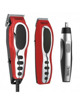 Комплект за бръснене и подстригване Wahl 79520-5616, Машинка за подстригване, Тример за уши и нос, Тример за детайли, 22 части, Червен/черен