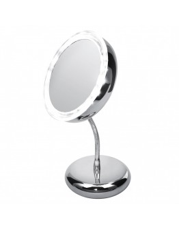 Козметично огледало Adler AD 2159, LED светлини, 3-кратно увеличение, Хром