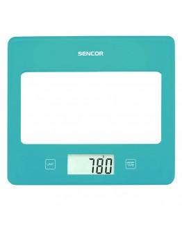 Кухненска дигитална везна Sencor SKS-5027TQ, 5 кг, LCD екран, Включена батерия, Тюркоаз