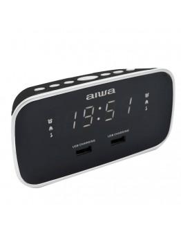 FM Радиочасовник Aiwa CRU-19BK, 2 x USB изхода за зареждане