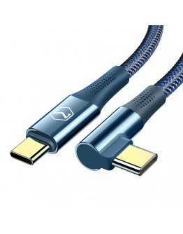 USB Type-C към USB Type-C 90° PD кабел Xmart, 5A, 100W, 1.2м, Син