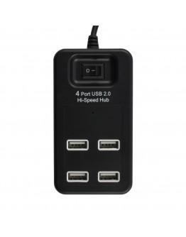 USB хъб Diva 4 порта с ключ, USB 2.0, Черен